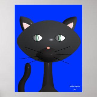 Cara del gatito con el fondo azul primario póster