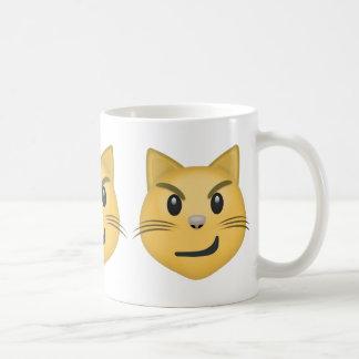 Cara del gato con la sonrisa torcida Emoji Taza