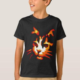 Cara del gato de Halloween que brilla intensamente Playera