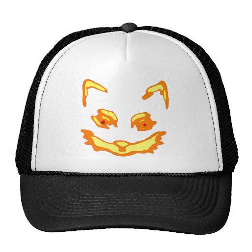 Cara del gato de la linterna de Halloween Jack O Gorro De Camionero