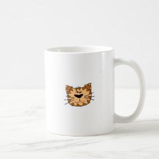 Cara del gato de Tabby del dibujo animado Taza De Café