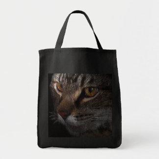 Cara del gato de Tabby del Grunge en sombra Bolsas De Mano