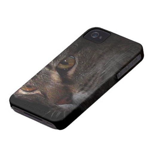 Cara del gato de Tabby del Grunge en sombra Case-Mate iPhone 4 Carcasa