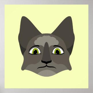 Cara del gato del animado con los ojos amarillos poster