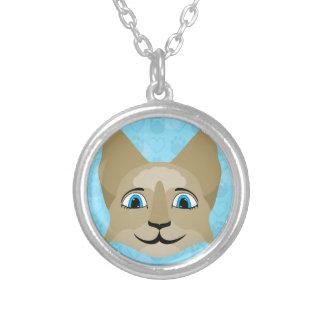 Cara del gato del animado con los ojos azules pendiente personalizado