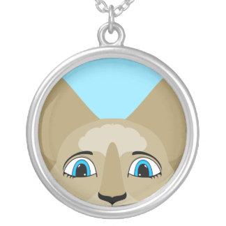Cara del gato del animado con los ojos azules pendientes personalizados