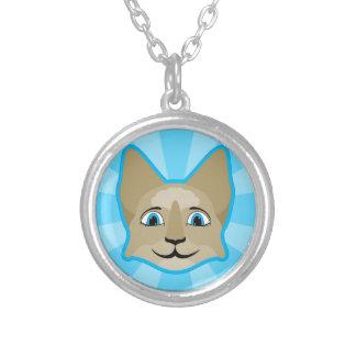 Cara del gato del animado con los ojos azules collar personalizado