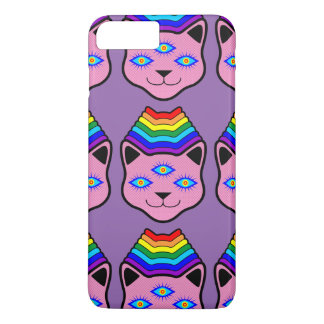 Cara del gato del arco iris funda iPhone 7 plus