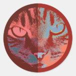 Cara del gato del arte pop etiquetas redondas