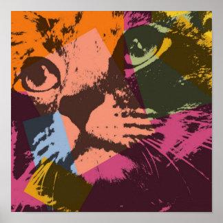 Cara del gato del arte pop póster