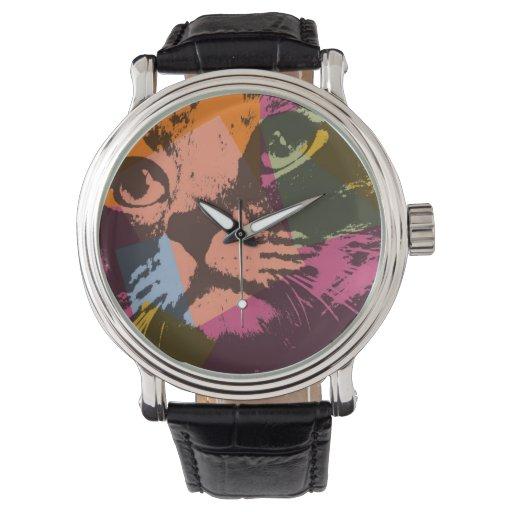 Cara del gato del arte pop relojes de mano