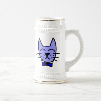 Cara del gato del dibujo animado con la pajarita jarra de cerveza
