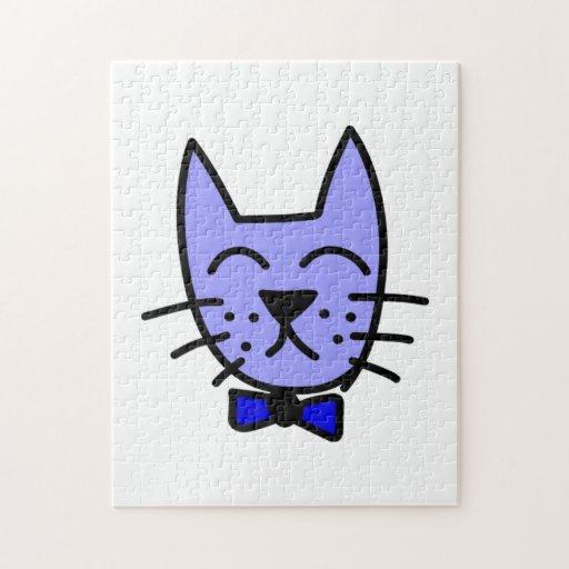 Cara del gato del dibujo animado con la pajarita puzzle