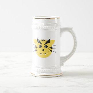 Cara del gato del dibujo animado jarra de cerveza