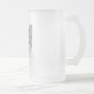Cara del gato del ejemplo taza de cristal
