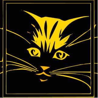 Cara del gato del oro escultura fotográfica