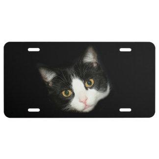 Cara del gato del smoking placa de matrícula