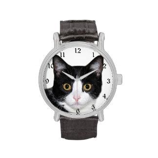 Cara del gato del smoking relojes de pulsera