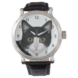 Cara del gato del smoking reloj de mano