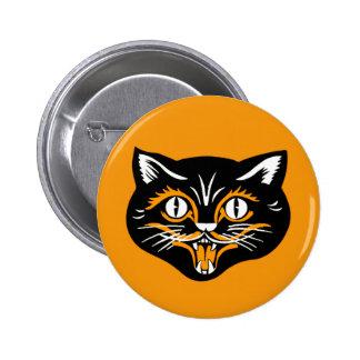 Cara del gato del vintage de Halloween Pin Redondo De 2 Pulgadas
