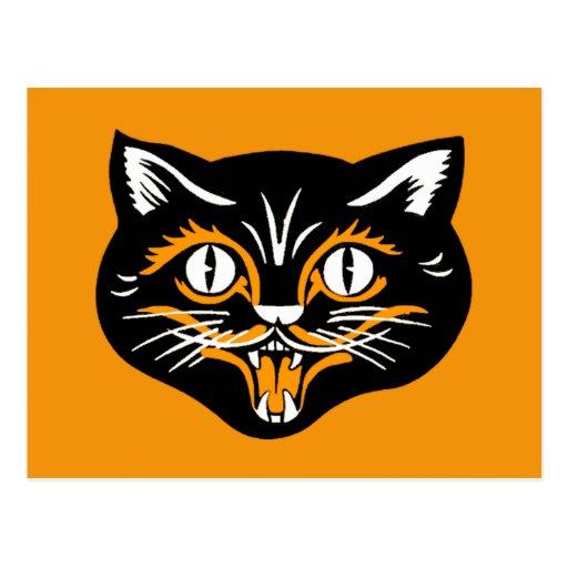 Cara del gato del vintage de Halloween Postal