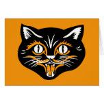 Cara del gato del vintage de Halloween Tarjeta De Felicitación