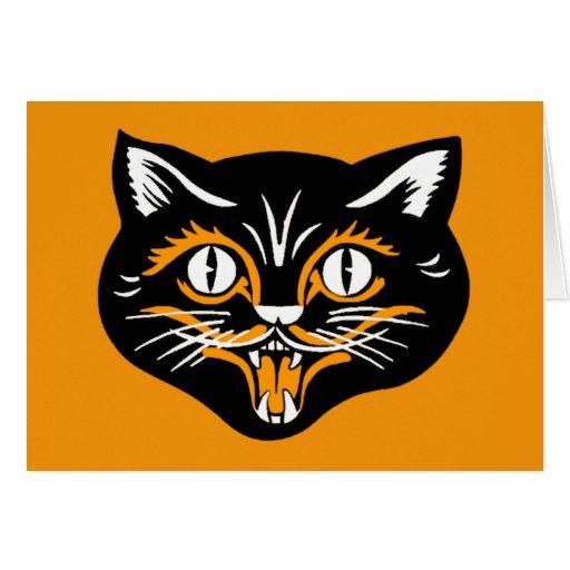 Cara del gato del vintage de Halloween Tarjeta