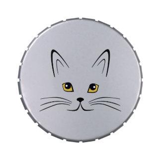Cara del gato latas de caramelos