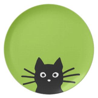 Cara del gato negro en verde (el color es plato de cena