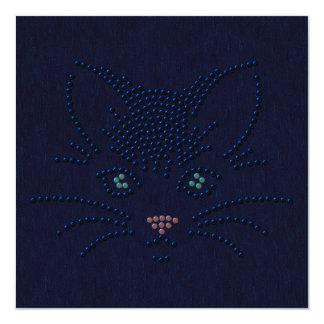 """Cara del gato negro invitación 5.25"""" x 5.25"""""""