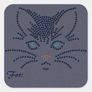 Cara del gato negro pegatina cuadrada