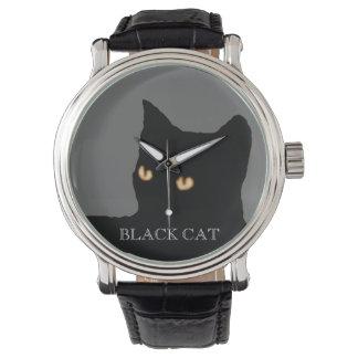 cara del gato negro relojes de pulsera