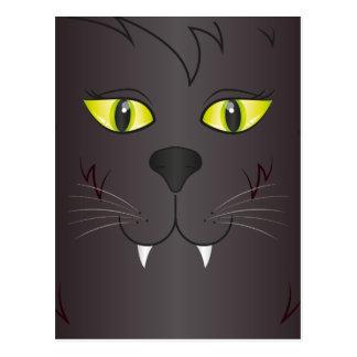Cara del gato negro postales