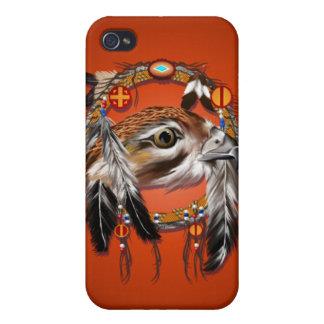 Cara del halcón de Dreamcatcher iPhone 4 Fundas