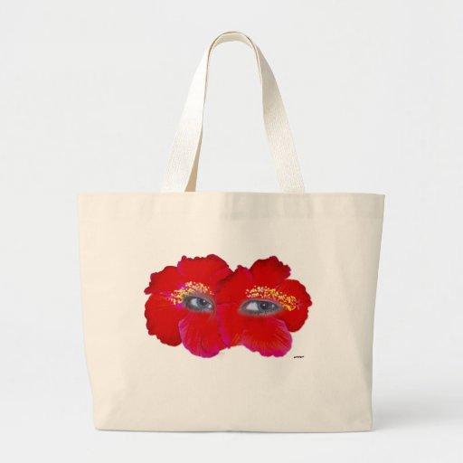 Cara del hibisco - rojo bolsa de mano