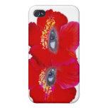 Cara del hibisco - rojo iPhone 4 protectores