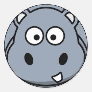 Cara del hipopótamo etiqueta