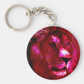 Cara del león llavero redondo tipo pin