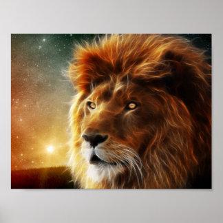 Cara del león. Rey de la abstracción de las Póster