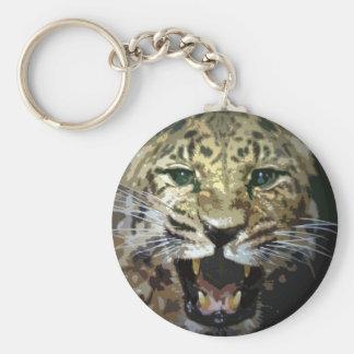 Cara del leopardo llavero redondo tipo pin