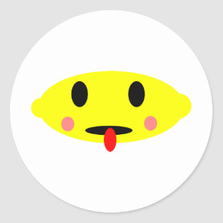 Cara del limón pegatina redonda