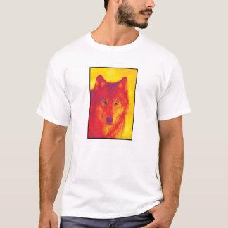 Cara del lobo - amarillo y rojo playera