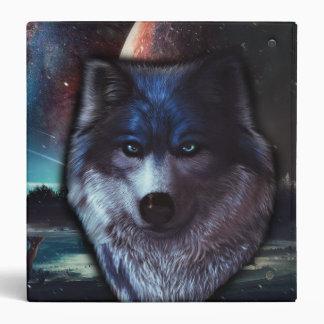 """Cara del lobo en el espacio, pintura azul del lobo carpeta 1 1/2"""""""