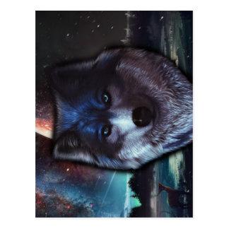 Cara del lobo en el espacio, pintura azul del lobo postales