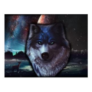 Cara del lobo en el espacio, pintura azul del lobo tarjetas postales