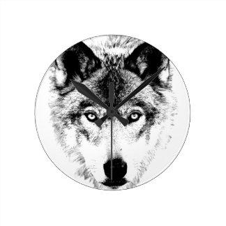 Cara del lobo. Imagen de la fauna de Digitaces Relojes De Pared