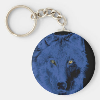 Cara del lobo - negro y azul llavero redondo tipo pin
