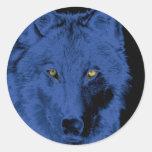 Cara del lobo - negro y azul pegatina