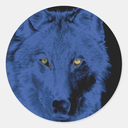 Cara del lobo - negro y azul pegatina redonda
