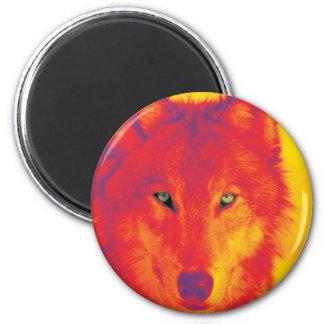 Cara del lobo - rojo y amarillo imán redondo 5 cm
